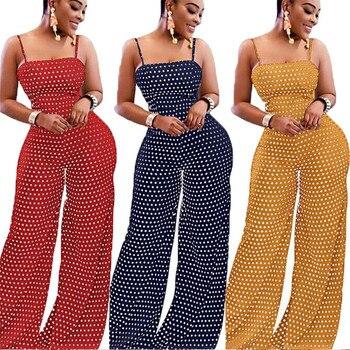 Women Polka Dot Printed Jumpsuit Summer Bowknot Sleeveless Jumpsuit Summer Playsuit Wide Leg Pants 2019 Stylish Holiday Jumpsuit 1