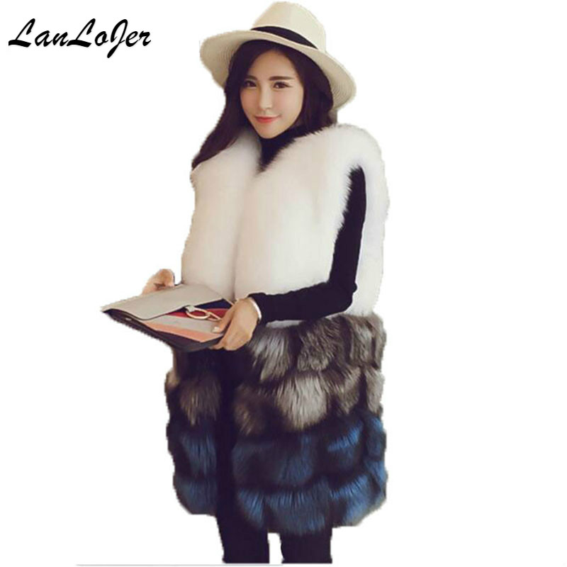 Winter Fox Fur Vest Faux Fur Vest Women Jacket Mink Waistcoat Outerwear Long Fur Coat Sleeveless Jacket 2018 New Arrival