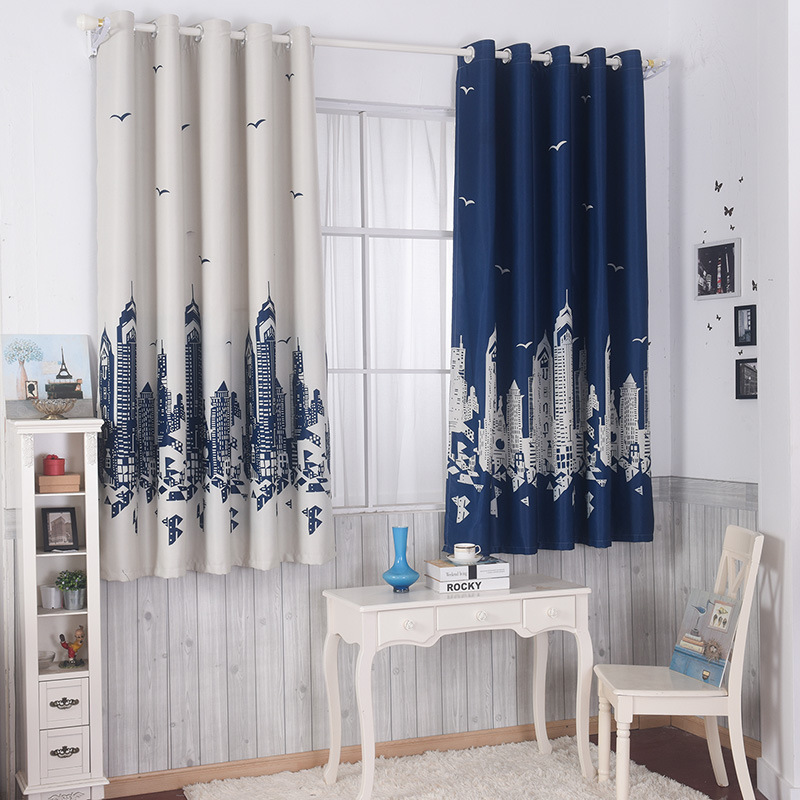 Cotton Spandex Printing Customized Short Curtain 2 Colors Optional Curtains  For Bedroom Windows Cartoon Castle Boys And Girls