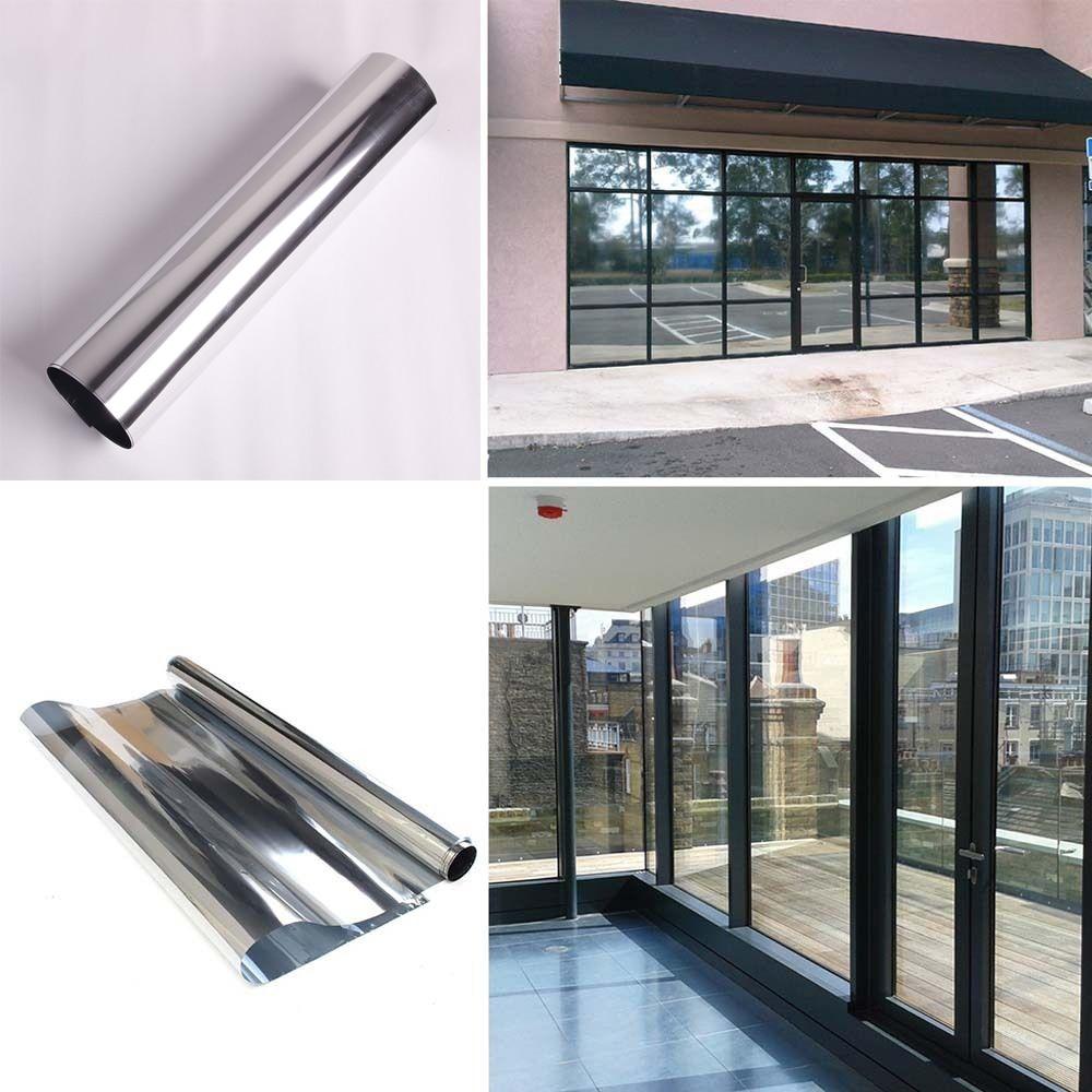 Sunice 0.9x10m Silver One Way Mirrored Window Film Anti UV glass sticker Removable Decorative Heat Control Privacy Glass Tint