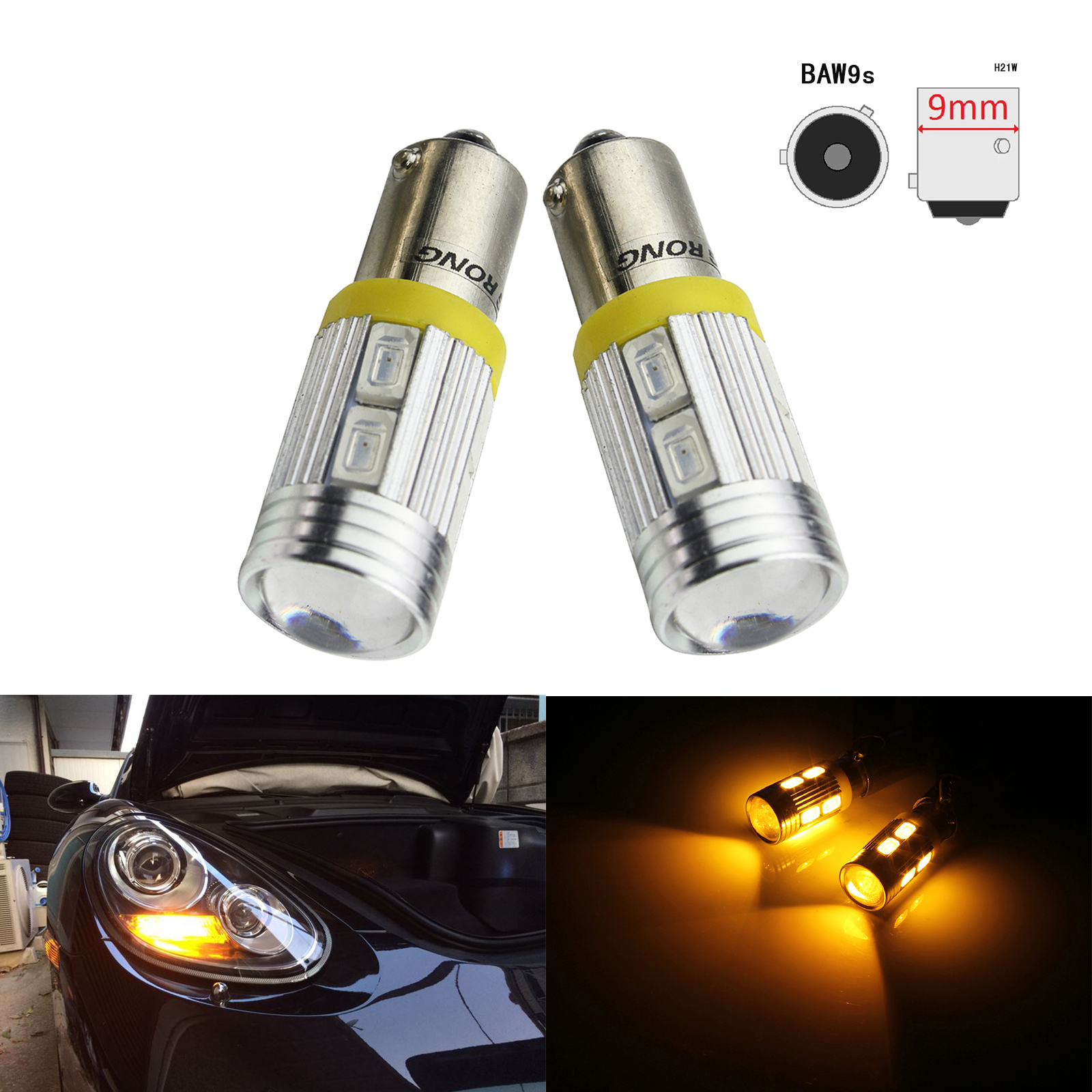 ANGRONG 2x BAW9s HY21W 10 SMD LED Bulbs Front Indicator Reverse Daytime Side Light Amber