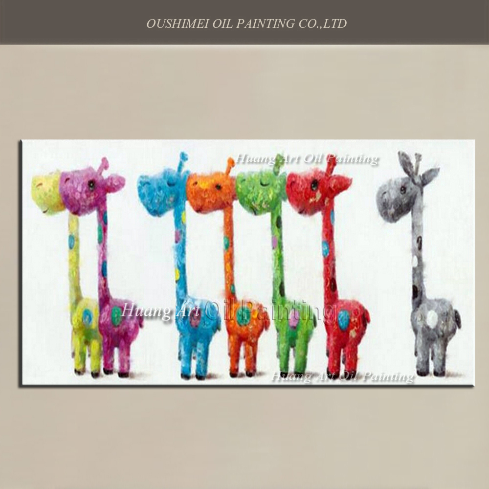 Us 40 0 50 Off Handmade Lovely 7 Giraffe Oil Painting Children Room Decor Wall Painting On Canvas Modern Colorful Rainbow Cartoon Animals In