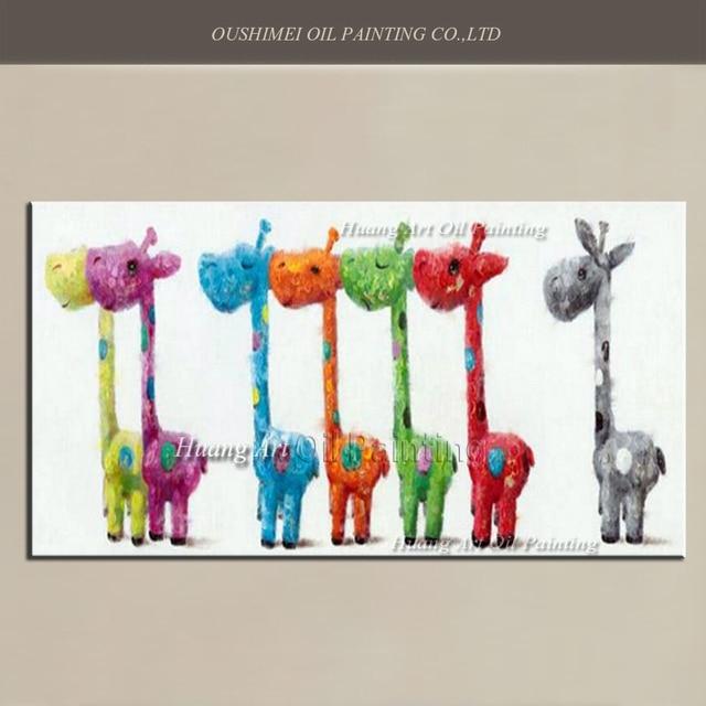 Cheap Wall Art For Living Room Outdoor Rooms Gallery Aliexpress.com : Buy Handmade Lovely 7 Giraffe Oil ...