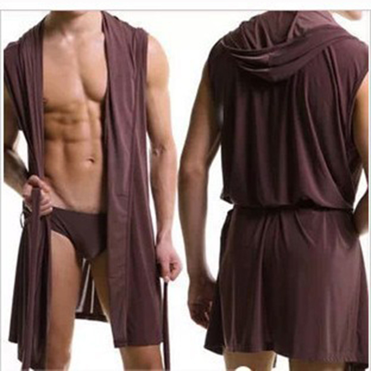 Hooded Bathrobe Men's Underwear Silk Soft Gown Pajamas Men Robes Plus Size Sexy Sleepwear Kimono Gay Wear