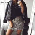 RealShe Women Skirt 2017 Woman Summer Middle Waist Lace Up Sexy Short Skirts Woman Bodycon Bandage Sheath Saias Faldas