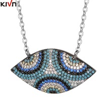KIVN Fashion Jewelry Turkish Blue eye Pave CZ Cubic Zirconia Pendant Necklaces for Women Christmas Birthday Mothers Day Gifts