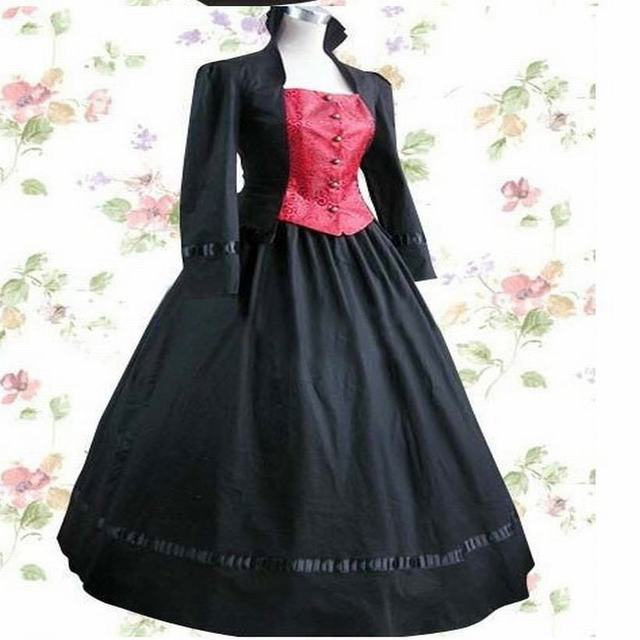 e9343c2d22f Long Sleeve Floor-length Black Satin Cotton Aristocrat Gothic Lolita Dress  Old European Style Stand Collar Cosplay Dress
