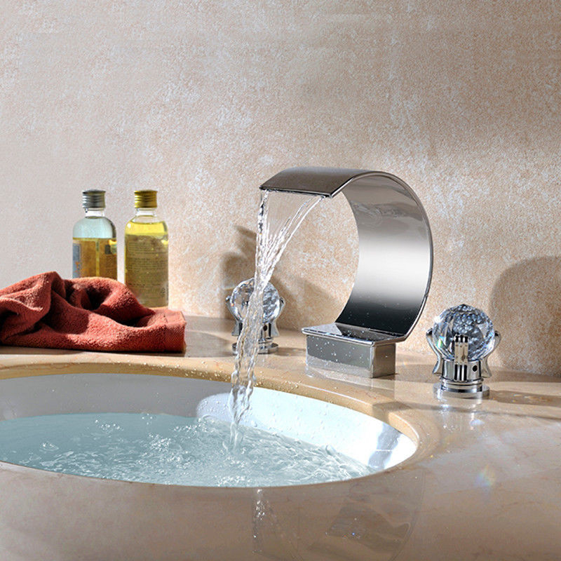 Chrome Finish Bathroom Waterfall Spout Faucet Deck Mounted Dual Crystal Handles Basin Sink Mixer Tap