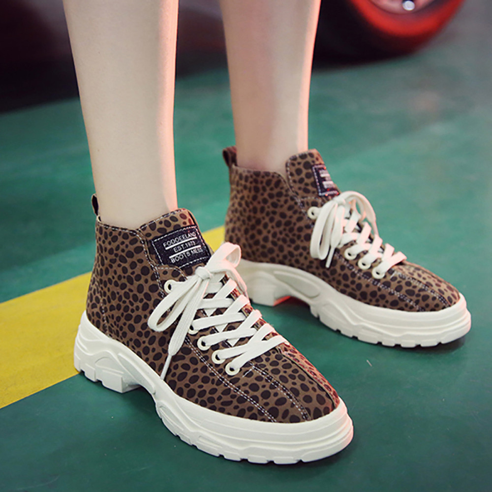 pretty nice dabbe d36d6 US $7.46 35% OFF|shoes woman sport sneakers кроссовки женские Women's  Casual Leopard Print Round Toe Shoes Lace UP Thick bottom Sneakers-in  Women's ...