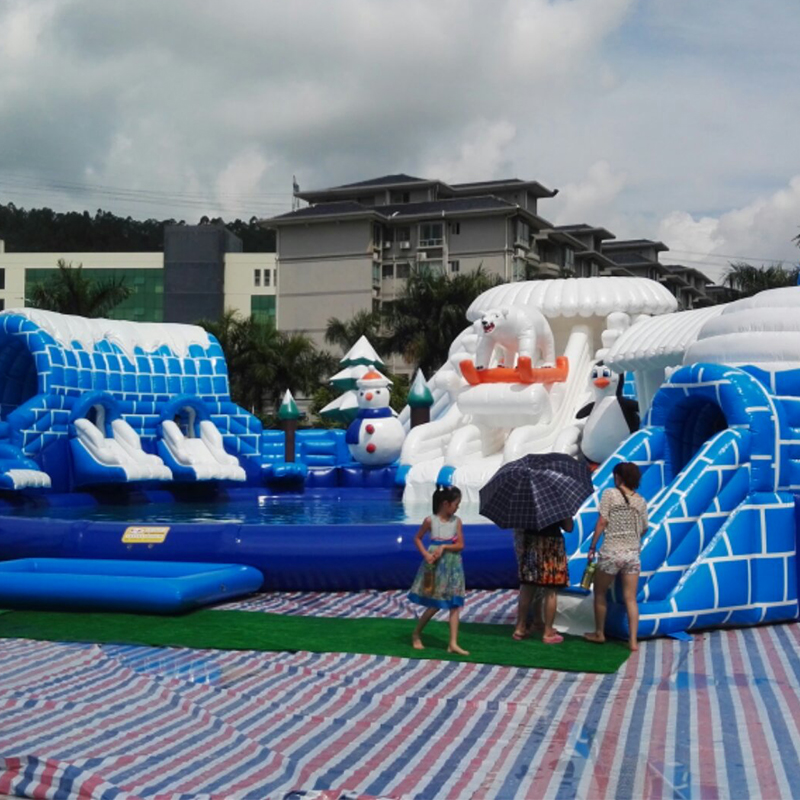 Mega Ice World Inflatable Water Park For Adults And Kids, Outdoor White Bear Water Park Equipment