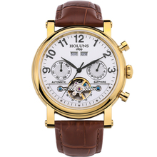 2016 Hot sale authentic fashion business men s mechanical watches hollow waterproof leather strap luxury minimalist