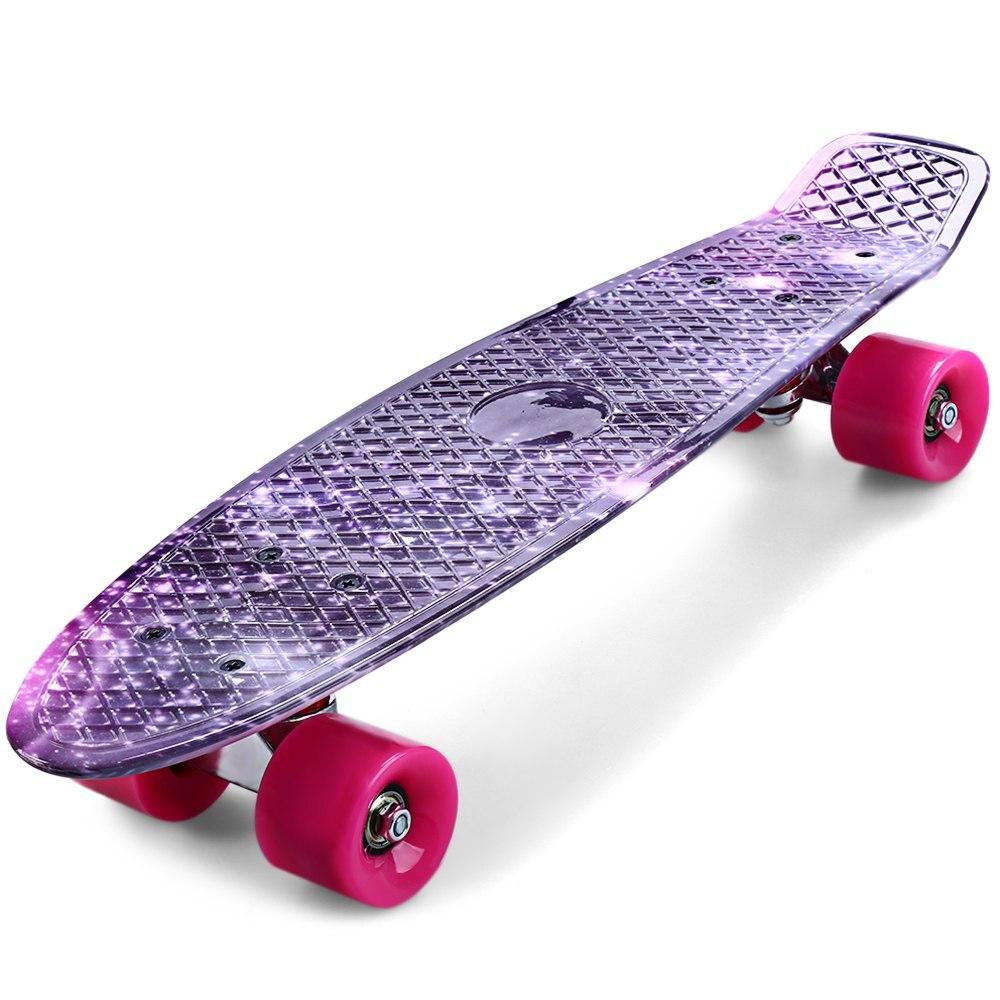 CL-95 22 pouce À Long Skateboards Impression Ciel Étoilé Galaxy Motif Pourpre Graffiti Longboard Rétro Planche À Roulettes Mini Cruiser