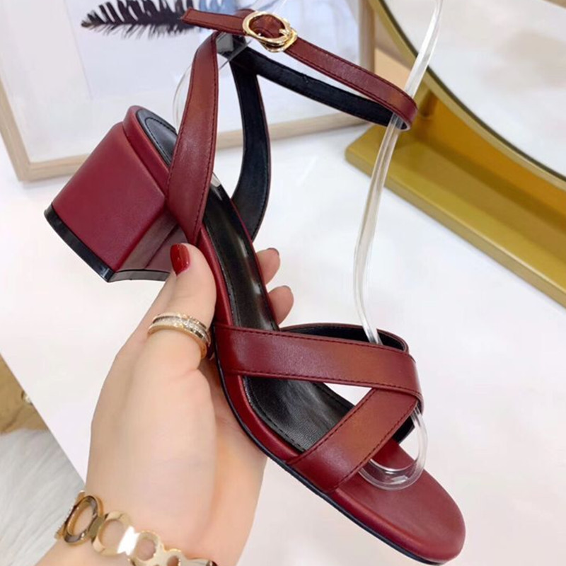 Free shipping 2019 high heel genuine leather buckled women shoes square heel back strap sweet comfortable