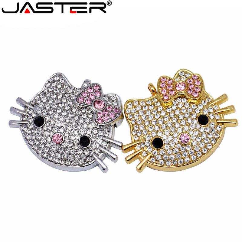 JASTER USB 2.0 4GB 8GB 16GB 32GB 64GB Pen Drive Hello Kitty KT Cat Creative Gift Lovers Usb Flash Drive Pendrive Memory Stick
