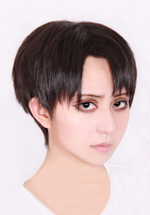 Attack On Titan Levi Ackerman Short Brown Mixed Hair Rivai Ackerman Heat Resistant Cosplay Costume Wig + Track + Wig Cap
