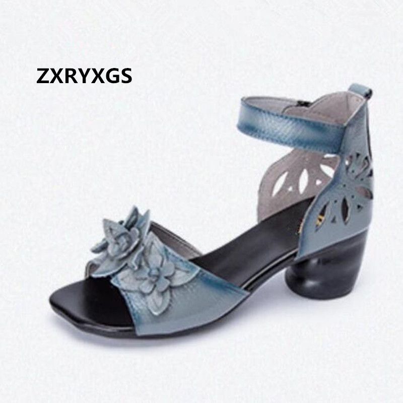 Hot Sales 2018 Summer New Retro Hollow Flower Cowhide Leather Sandals Comfortable Soft Women Sandals Breathable Fashion Shoes