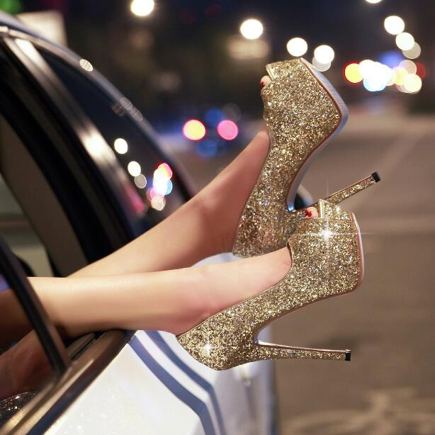 Big Size 10 Bling Bling Gold Glitter Embellished High Heel Shoes Peep Toe Platform Pumps For Women Slip-on Party Dress Shoes olga skazkina