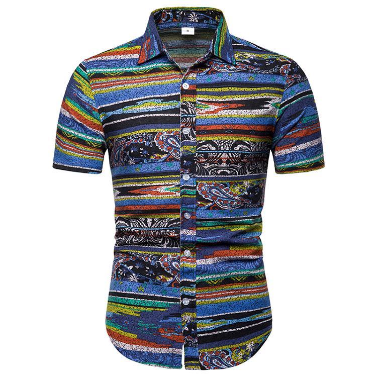 Multicolor Stripes Shirt for Men Short sleeve Linen Shirts Hawaiian Style Blouse Man Loose Summer Plus size