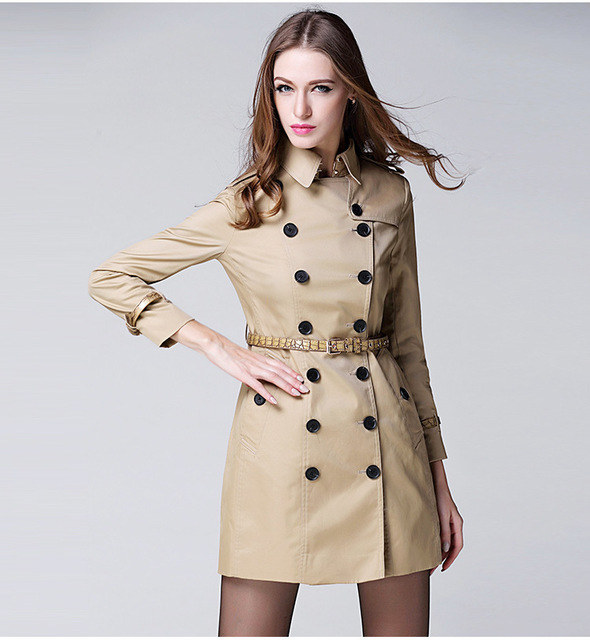 9d50924f2b Top Quality Women Classic Trench Coat Vintage Double Breasted Coat Winter Trench  Coats Women Trench Coats with Leather Belt