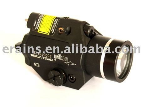 New strobe function control on both red laser sight or aimer and 200 lumens CREE Q5 LED light combo