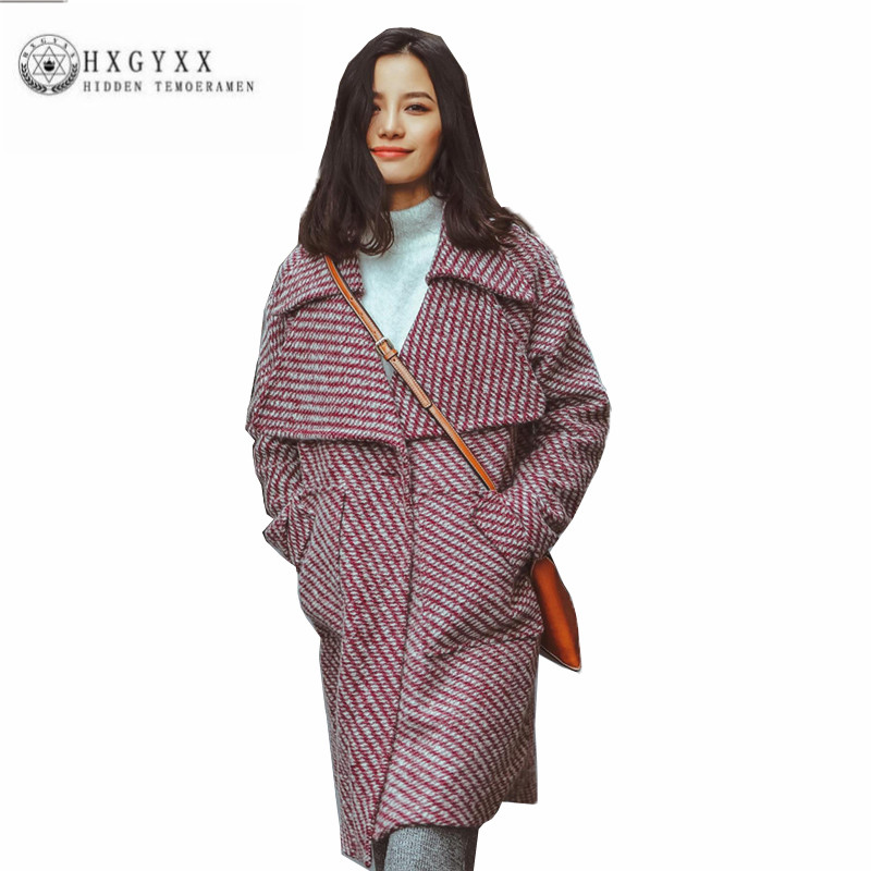 High quality New Women cloth Coat Thick Lapel Winter Grid Outerwear Fashion Long sleeve Loose temperament Wool Parka ZX0103