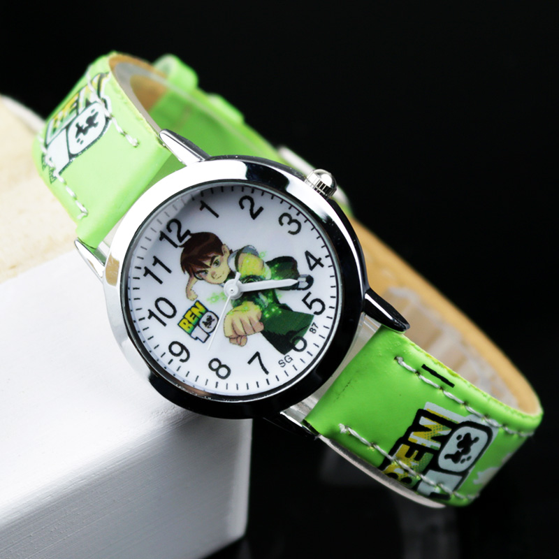 Ben 10 Cartoon Children Watch Leather Quartz Kids Watches Child Wrist For Boys Students Sports Clock Relogio Hombre