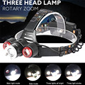 High Quality Headlamp 8500Lm XML T6+2R5 3 LED Rechargeable 18650 Headlamp Head Light Torch