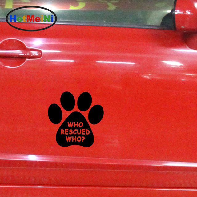 Hotmeini wholesale 50pcs lot who rescued who animal dog cat paw car sticker for minicab