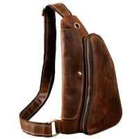 2019 Homens de Qualidade da moda Couro de Cavalo Louco Ocasional Pacote de Cintura No Peito Saco Sling Bag Design de Uma Bolsa de Ombro Saco Crossbody para o Sexo Masculino
