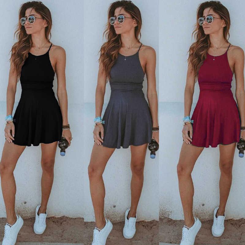 חם האופנה נשים שמלה ללא שרוולים מקרית מוצק קיץ נקבה חוף השמלה סקסית גבירותיי בגדי נשים שמלת מיני קצר שמלה קיצית