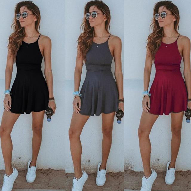 mangas mujer vestido sexy mujeres short casual verano sin Moda sólido Vestido playa caliente de Ladies wYpqE8S