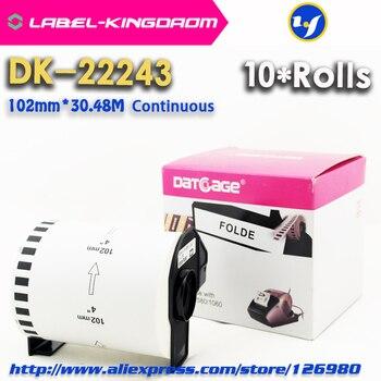 10 рулонов Универсальный DK-22243 этикетка 102 мм * 30,48 м Совместимость для принтера Brother Label QL-1060N все поставляются с пластиковым держателем