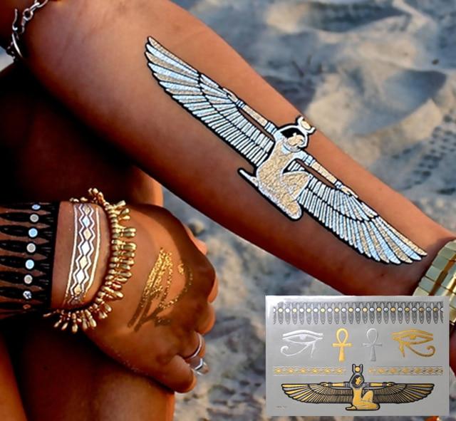 Sex Taty Indian Temporary Tattoos Glitter Flash Gold Metallic Tattoo Jewelry Henna Fake Tatoo Sleeve Stickers