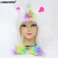 LAISIDANTON Pink Blue Purple White Colorful Rainbow Unicorn Women S Hats Girls Boys Cosplay Halloween Winter