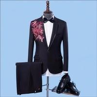 2019 New Slim Men Embroidery applique suit show host ceremonial dress Slim groom groomsmen wedding suits dress singer costumes