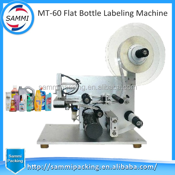 Semi auto triangle bottle and flat bottle and surface bottle labeling machine