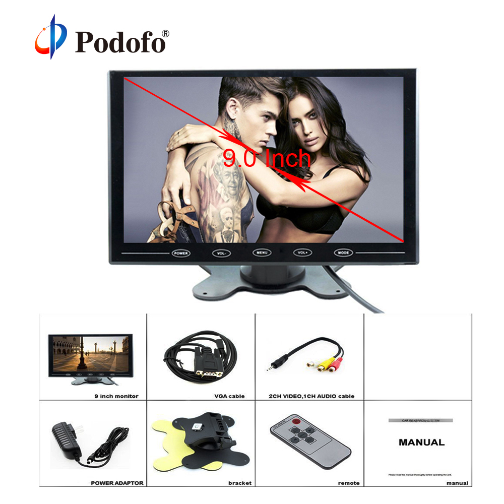 Podofo 9 Inch TFT LCD Car Monitor Reverse Rear View Monitor HD Color Screen 2 Video Input / HDMI / VGA Support Mini PC Display pvt 898 5g 2 4g car wifi display dongle receiver airplay mirroring miracast dlna airsharing full hd 1080p hdmi tv sticks 3251