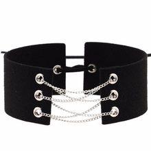16 Kleuren Nieuwe Bijoux Black Velvet Choker Zilver Kleur Kettingen Sexy Verklaring Ketting Link Chain Lace Up Choker Kraag Kettingen