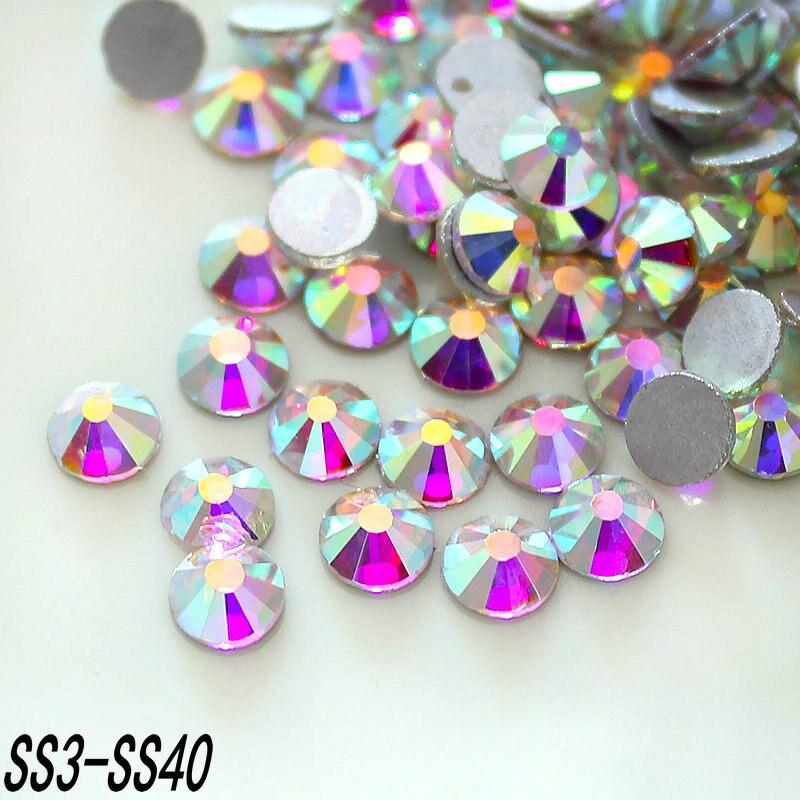 SS3-SS40 Platte achterkant Lijm Op Niet Hotfix Kristal AB steentjes Sieraden maken Kralen, nail art decoratie, kleding steentjes