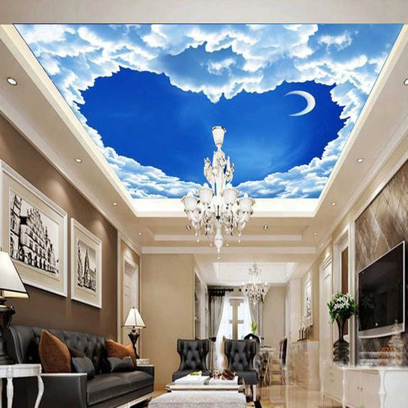 Custom 3d Mural Wallpaper Heart Shaped Blue Sky White Clouds Ceiling Frescoes Living Room Bedroom Ceiling Wall Papers Home Decor