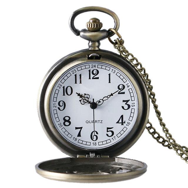 Antique Bronze Rabbit Key Flower Hollow Quartz Pocket Watch Necklace Pendant Chain Mens Womens Gift