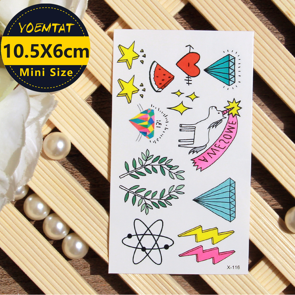 Body Art Waterproof Temporary Tattoo Sticker Star Unicorn Love Tattoo Translated Fake Tattoo Flash Tattoo For Children