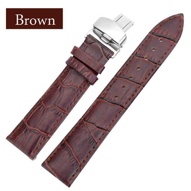 Black Brown business casual leather Watch band strap butterfly buckle crocodile pattern bracelet 18 20 22 24 mm