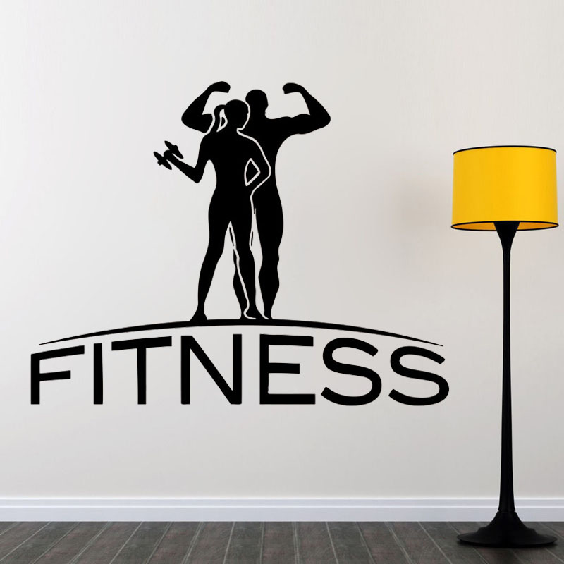 Fitness Wall Sticker Sports Gym Wall Decals Home Decor Removable Wall Art Vinyl Murals Living Room Bedroom Decoration