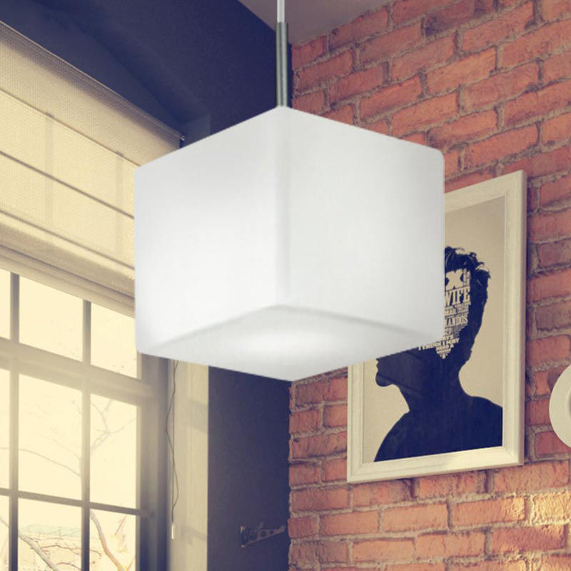 Modern Hanging Cube White Glass 1-Light Pendant Lamp Lighting Fixture Home Cafe Bar Parlor Study Bedroom Hotel Living Room Lamps bdbqbl modern iron pendant light for living room bedroom foyer study hanging lights white led pendant lamp lighting fixture