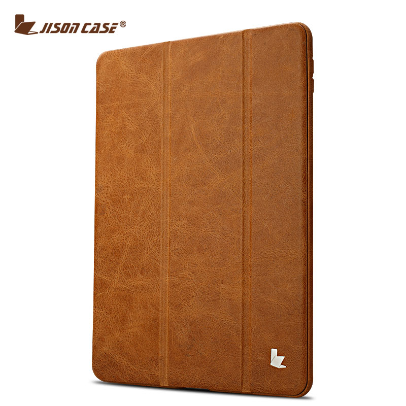 Jisoncase Flip Cases for iPad Air 1 Air 2 Smart Cover Luxury Genuine Leather Holder for iPad Air 5 6 Skin for iPad 9.7 2017 special genuine natural bamboo wood case cover skin protection for ipad air 5 mar15