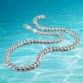 Hombres collar de cadena de plata, 925 genuino sólido joyería de plata pura collar de gruesas cadena hombres collar de plata. hebilla larga