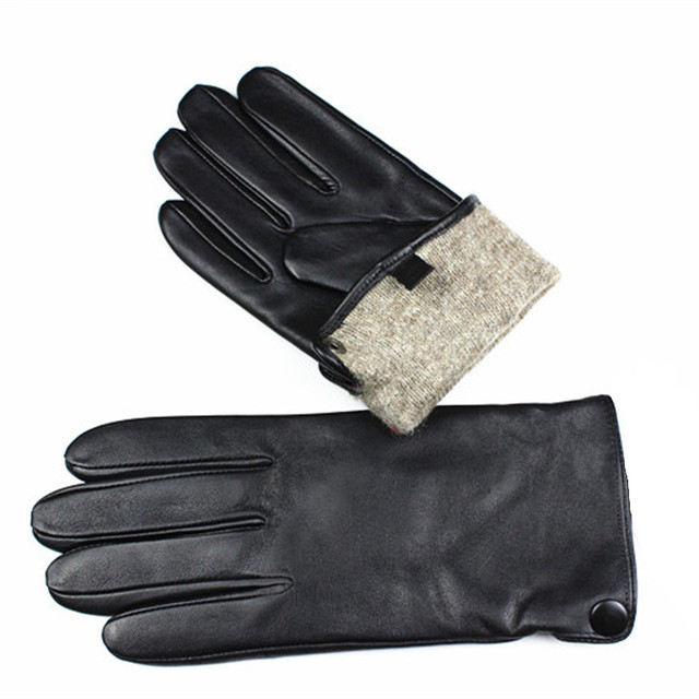 Leather gloves men's high quality sheepskin gloves fashion stripes style wool lining driving gloves outdoor spring and autumn