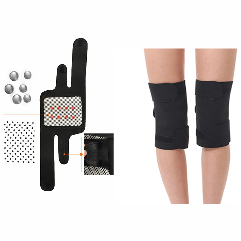 1 Pair Tourmaline Self Heating Knee Pads Magnetic Therapy Knee Support Belt Knee Massager For Keeping Warm & Relieve Pain