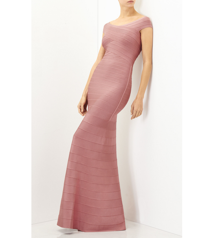 wholesale New style long dress Pink Elastic tight Fashion leisure celebrity Cocktail party bandage dress H2606